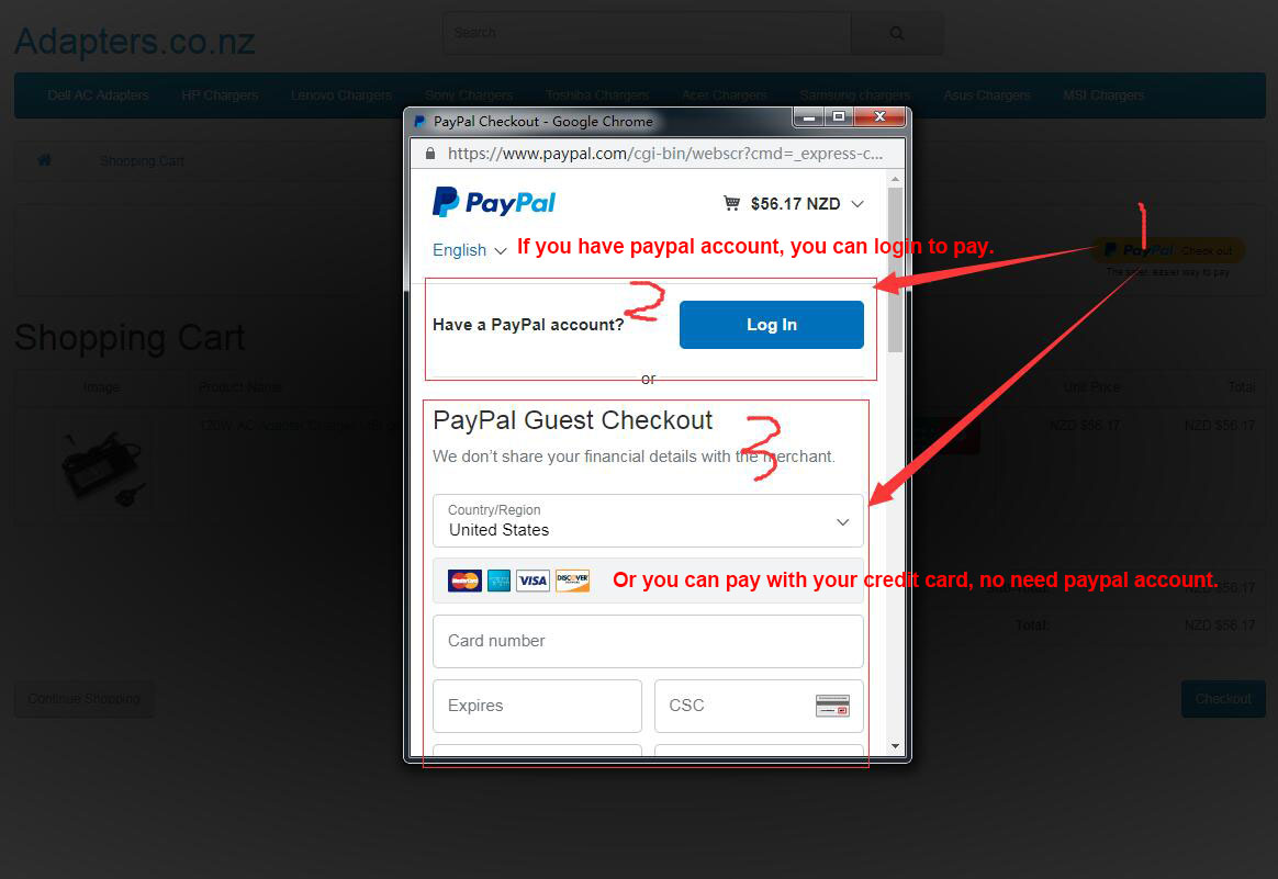 Pay with paypal & no need paypal account,can use credit card to pay
